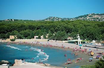Moraira's fine, sandy, gently-shelving beach